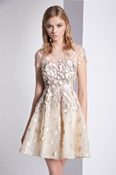 Petite robe dos transparent à pois appliqués en dentelle