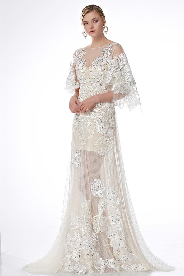 robe florale dentelle manche cape jupe vas e pour concours de beaut. Black Bedroom Furniture Sets. Home Design Ideas