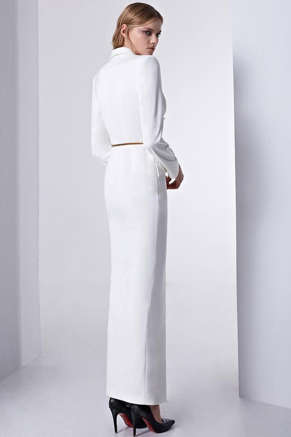 Robe chemisier évasée blanche col tailleur à manche longue