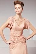 Elegantes Bodenlang V Ausschnitt Perlen Applikation Abendkleid
