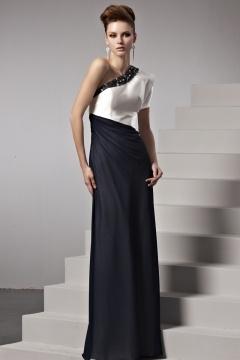 Robe seule épaule ornée de rhinestones contraste noir-blanc