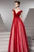 Hübsches Bodenlang V Ausschnitt Perlen Blume Abendkleid