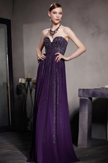 Dressesmall Sexy Purple Tone A line Strapless Beading Chiffon Floor Length Formal Dress