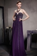 Sexy Purple Tone A line Strapless Beading Chiffon Floor Length Formal Dress