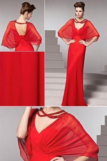 Robe de soirée rouge longue à manche chauve souris transparente