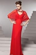 Robe soirée rouge longue empire à brides dos nu