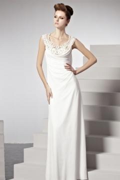 Robe longue colonne drapée perles dentelle blanche