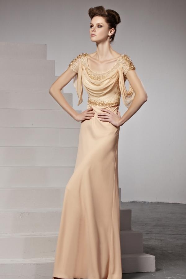 Rückenfreies Rund-Ausschnitt Perlen Chiffon Abendkleid mit ...