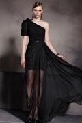 Sexy A-Linie Ein Schulter Bodenlanges schwarzes Abendkleider aus Tencel