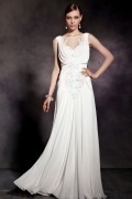 A line White Sleeveless Ruched Embroidery Satin Long Formal Dress
