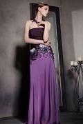 Chic Lila Trägerlos A Linie Langes Perle Satin Abendkleider