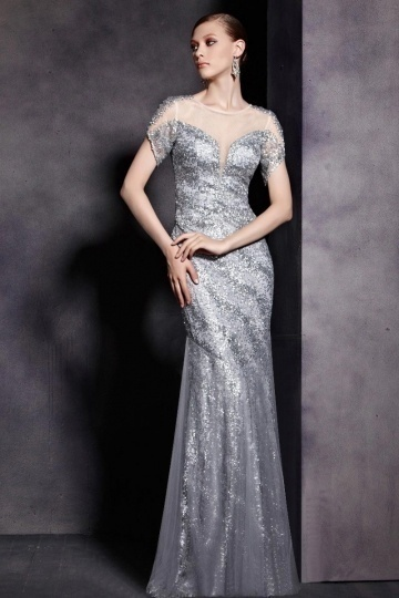 Dressesmall Gray Tone Sequins Short Sleeves Trumpet Floor Length Formal Dress