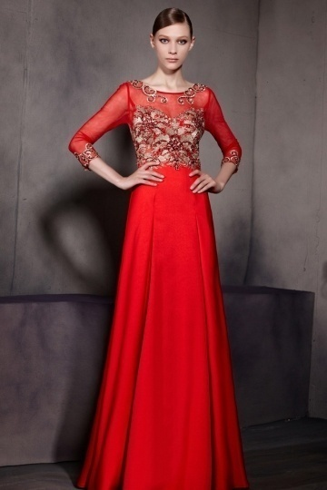 Dressesmall Red Embroidery Scoop 3 4 Sleeves Satin Floor Length Formal Dress