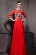 Red Embroidery Scoop 3 4 Sleeves Satin Floor Length Formal Dress