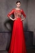 Luxus A-Linie rotes langes Satin Abendkleid mit Ärmel