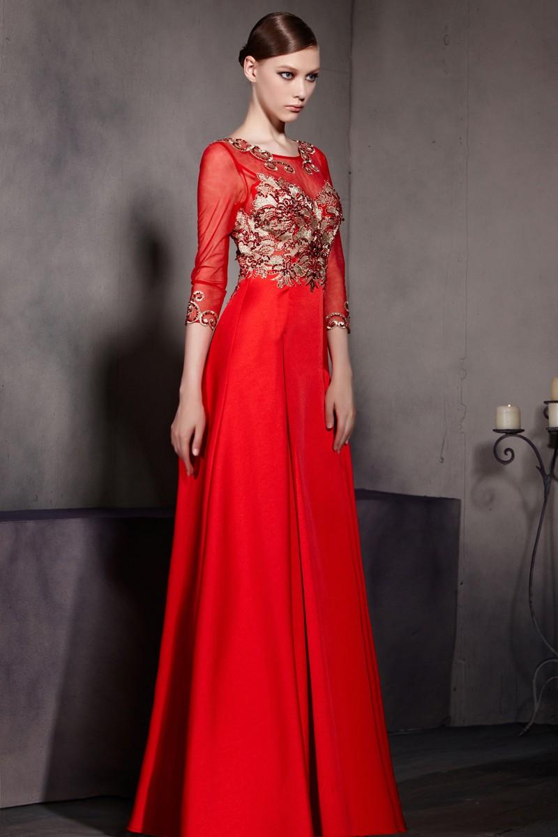 Robe de soiree rouge avec manches