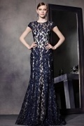 Unique Sequins Sheath Blue Tone Cap Sleeves Floor Length Formal Dress