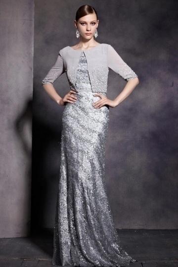 Dressesmall Gray Tone Half Sleeves Sequins Scoop Floor Length Formal Dress