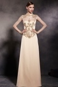 Champagne Tone High Neck Sleeveless Embroidery Floor Length Formal Dress