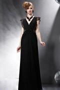Sexy Schwarzes V Ausschnitt Sequins Langes Abendkleid aus Chiffon