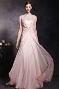 Beautiful Pink Tone Tencel Sleeveless High Neck Zipper Long Formal Dress