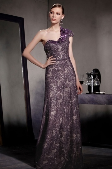 Dressesmall Gorgeous Purple Tone One Shoulder Lace Floor Length Formal Dress