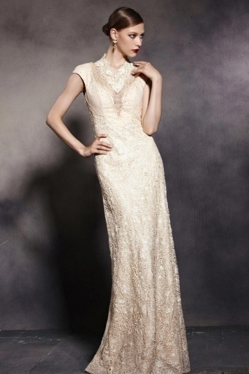 Dressesmall V Neck Cap Sleeves Embroidery Lace Zipper Long Formal Dress