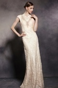 V Neck Cap Sleeves Embroidery Lace Zipper Long Formal Dress