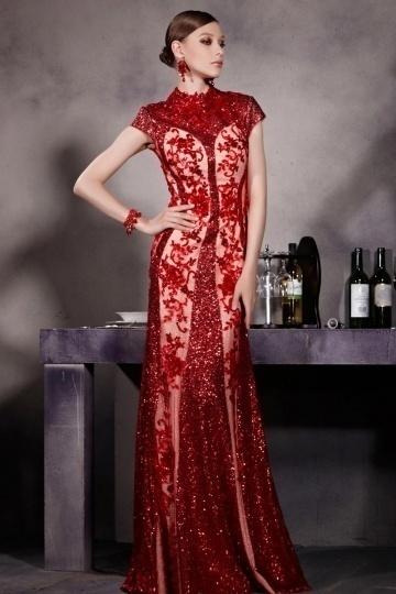 Elegantes Rotes Langes Abendkleider-Persunkleid.de