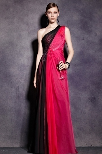 Dressesmall Simple One Shoulder Color Block Ruched Tencel Long Prom Dress