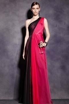 Simple One Shoulder Color Block Ruched Tencel Long Prom Dress