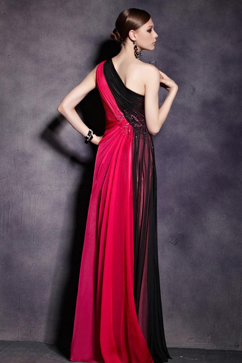 Robe bicolore noire et rouge