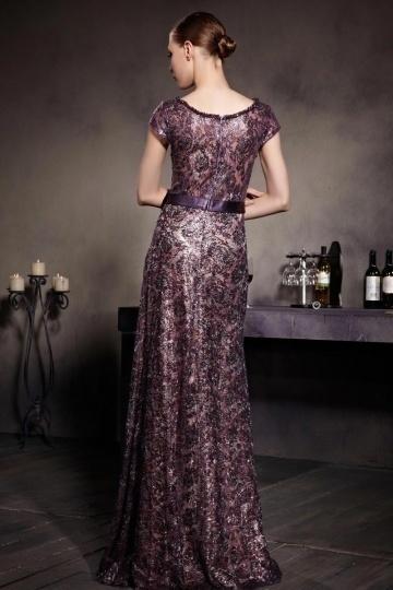 Chic Rund Ausschnitt A Linie Langes Lila Abendkleid aus ...