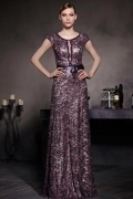 Purple Tone Cap Sleeves Lace Bowknot Zipper Floor Length Formal Dress