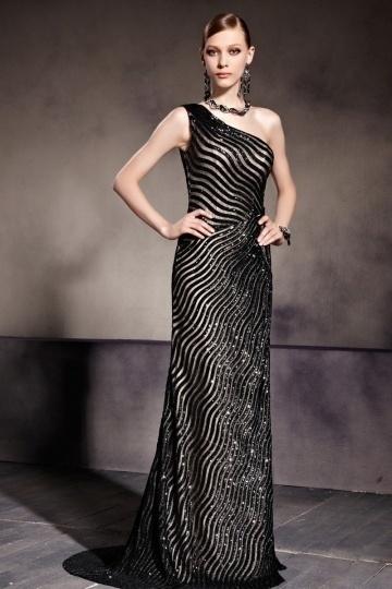 Modernes A-Linie schwarzes langes Ein Schulter Abendkleider aus Sequins Persun
