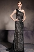 Chic Color Block One Shoulder Sequins Court Train Long School Formal Dress