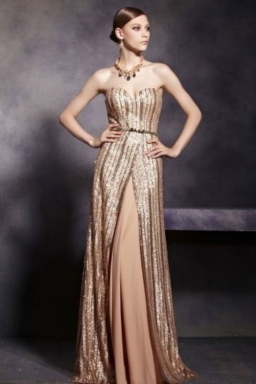 Dressesmall Champagne Tone Sexy Strapless Backless Floor Length Prom Dress
