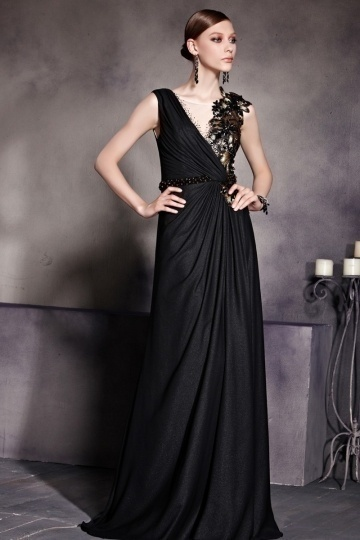 Dressesmall Black Chiffon Sleevelss Empire Flower Ruched Long Formal Dress