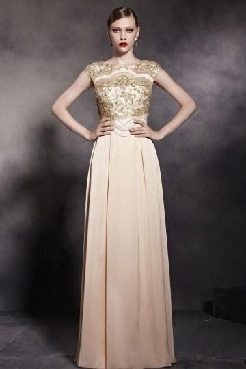 Dressesmall Bateau Embroidery Cap Sleeves Satin Floor Length Formal Dress