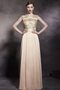 Bateau Embroidery Cap Sleeves Satin Floor Length Formal Dress