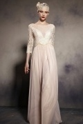 3 4 Sleeves Zipper Embroidery Tulle Floor Length Formal Dress