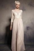 Schlichtes A-Linie Rund-Ausschnitt langes Abendkleid aus Tüll