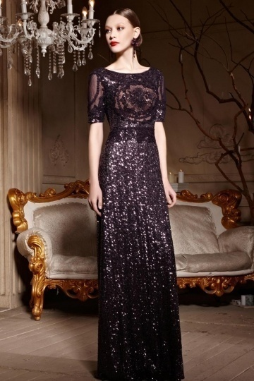 Purple Tone Embroidery Sequins Sheer Back Zipper Long Formal Dress  Persun