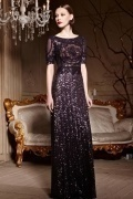 Purple Tone Embroidery Sequins Sheer Back Zipper Long Formal Dress
