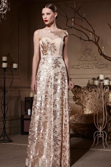 Dressesmall Empire Embroidery Sequins Sleeveless Tulle Long Prom Dress