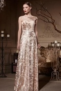 Empire Embroidery Sequins Sleeveless Tulle Long Prom Dress
