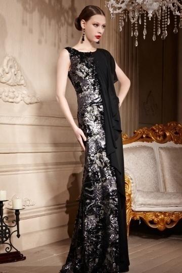 Dressesmall Color Block Black Sequins Draping Sleeveless Chiffon Long Formal Dress