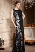 Color Block Black Sequins Draping Sleeveless Chiffon Long Formal Dress