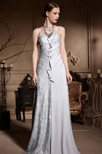 Dressesmall Spaghetti Sequins Straps Silver Gray Ruched Floor Length Prom Dress