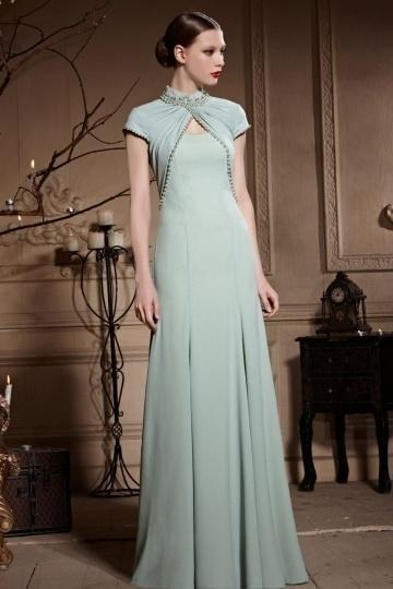 Dressesmall Vintage High Neck Pearl Cap Sleeves Sheath Floor Length Formal Dress